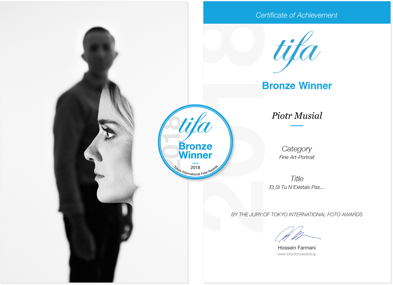 2018 - Tokyo International Foto Awards - 3rd Place (Bronze Winner) in FineArt-Portrait Category - OLA+LUKASZ by Piotr Musial